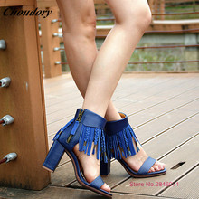 Women Sandals 2017 New Style Personality Side Zipper Genuine Leather Sweet Sandals Super Square Heel Fringe Shoes Sandale Femme