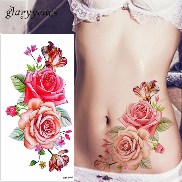 Glaryyears 1 Sheet Dazzle Blossom Rose Flower Peony Tattoo Temporary
