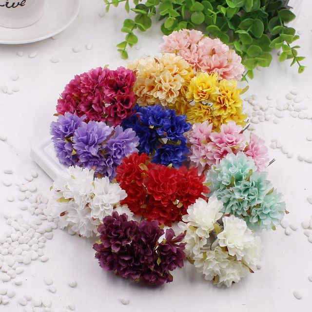Aliexpress buy 6 unids 13 colors artificial silk flower 6 unids 13 colors artificial silk flower bouquet multicolor scrapbooking flower leaves for wedding banquet and mightylinksfo