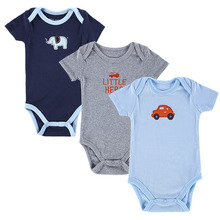 3 Pack Baby Boy Bodysuits with Short Sleeves 100% Cotton Cute Elephants Print 4-12 Months