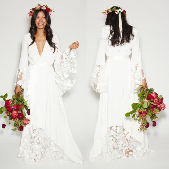 81a3c8bcd1fb Romantic Summer Beach Boho Wedding Dresses Bohemian Hippie Style Bridal  Gowns with Long Sleeves Lace Wedding Gown Plus Size