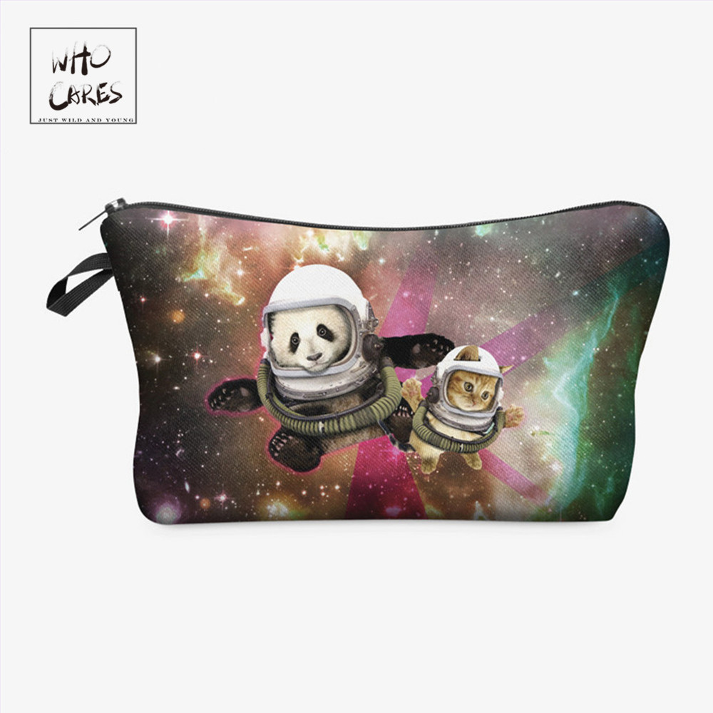 Who Cares Fashion Makeup Bags Galaxy Panda Cat 3d Printing Cosmetics Pouchs For Travel Ladies Pouch Women Cosmetic Bag