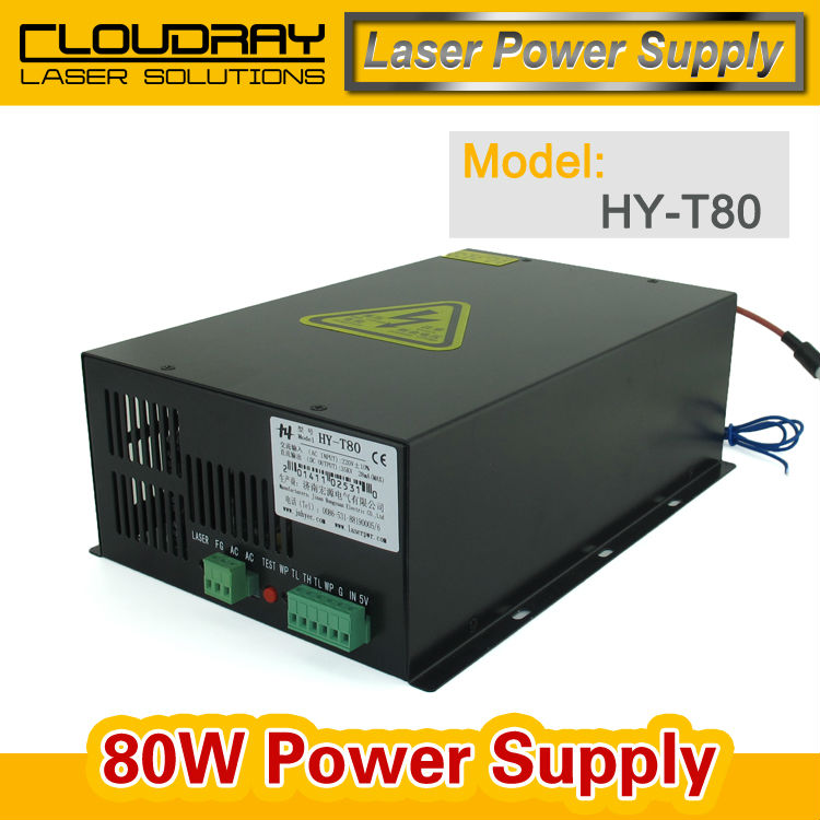 80W CO2 Laser Power Supply Source  for CO2 Laser Engraving Cutting Machine HY-T80 2pcs lot 60w laser power supply psu high voltage flyback hongyuan hy t60 co2 engraving cutting machine ignition coil