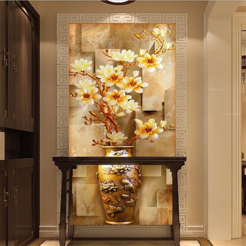 Beibehang Papers Home Decor Painting Entrance Stereoscopic Elegant Magnolia Vase Large Mural Wallpaper For Living Room