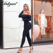 Dulzura off shoulder long sleeve sexy women jumpsuit stretch skinny streetwear body suit clothes 2018 autumn