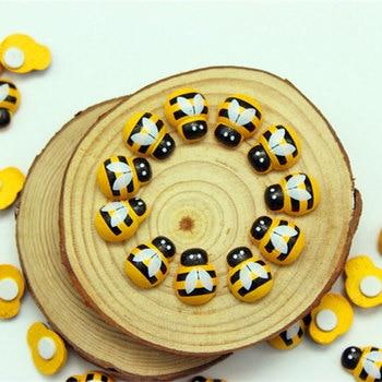 100 sztuk/worek DIY biedronka naklejki Mini Bee drewniane Scrapbooking dekoracja wielkanocna dekoracje ścienne do domu dekoracje na imprezę urodzinową @