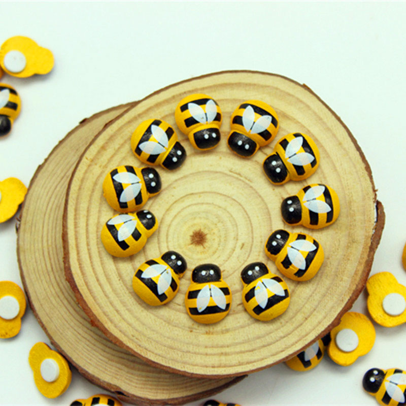 100pcs/bag DIY Ladybug Stickers Mini Bee Wooden Scrapbooking Easter Decoration Home Wall Decor Birthday Party Decorations @(China)