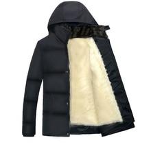 winter trend new males's informal plus velvet thick heat Cotton-padded garments / Men add wool hooded down jacket coat