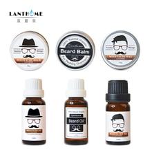 Lanthome натуральный бальзам для бороды, восковой крем для бороды и усов, масляный набор для роста бороды, органический воск для усов, для гладкого роста бороды, Стайлинг