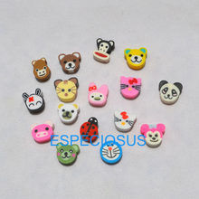 50pcs DIY Jewelry Accessories polymer clay beads Cartoon Animals Round Shape Spacer mix color Bracelet Department Fimo Slices(China)
