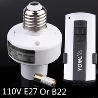 Wireless 110V Remote Control Switch For E27 Incandescent Lamp Energy Saving Lamps LED Lights E27 B22