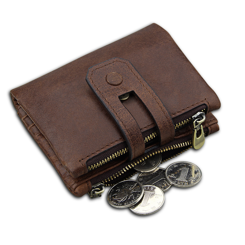 New 100% Genuine Leather Men Wallet Rfid Small Men Wallets Zipper&Hasp Male Wallet Short Coin Purse Card Holder Carteira HB66 new wallet short men wallets genuine leather male purse card holder wallet fashion zipper wallet coin purse pocket bag free ship