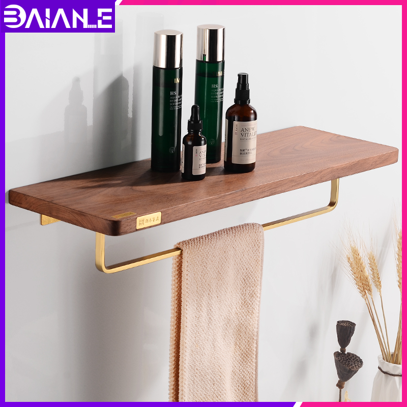 Bathroom Towel Holder Brass Wood Bathroom Shelf Shower Storage
