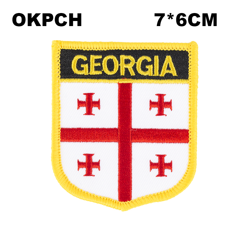 GEORGIA USA STATE SHIELD FLAG EMBROIDERED IRON-ON PATCH CREST BADGE . NEW
