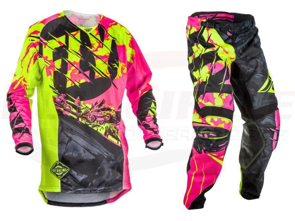 2018 Fly Racing Kinetic Outlaw Jersey Pants Motocross Dirtbike Black Neon Pink Hi-Vis Motorcycle Motobiker Moto Suits fly iq255 pride black