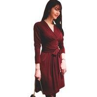 2017 Spring WomenV Neck Long Sleeve Knee Length Pleated Wrap Dress Ladies Office Dresses
