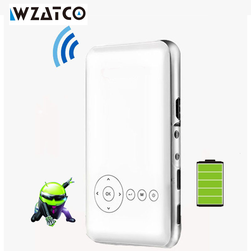 WZATCO Built-in battery 5000mAh 32GB android 4.4 Miracast wifi mini pico micro LED pocket HDMI dlp projector proyector beamer mini tv micro dlp wifi portable pocket led smartphone projector bluetooth pico hd video 1080p hdmi for ipad iphone 6 7 white ios