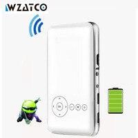 WZATCO Wbudowana bateria 5000 mAh 32 GB android 4.4 HDMI Miracast wifi mini projektor pico micro LED kieszonkowy projektor dlp proyector beamer