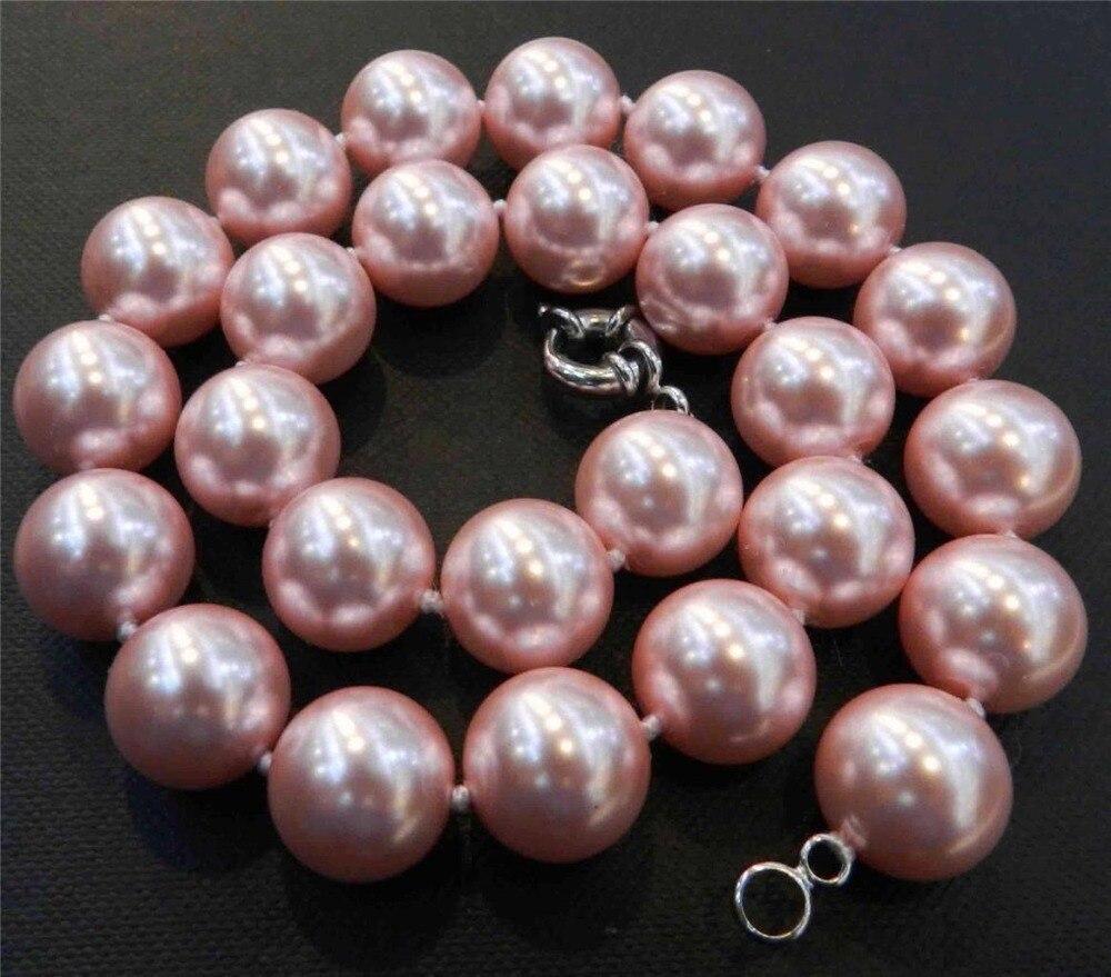 eb02306f1990 Cheap Nuevo collar de perlas de concha redonda de Mar del Sur rosa de 12mm  collar