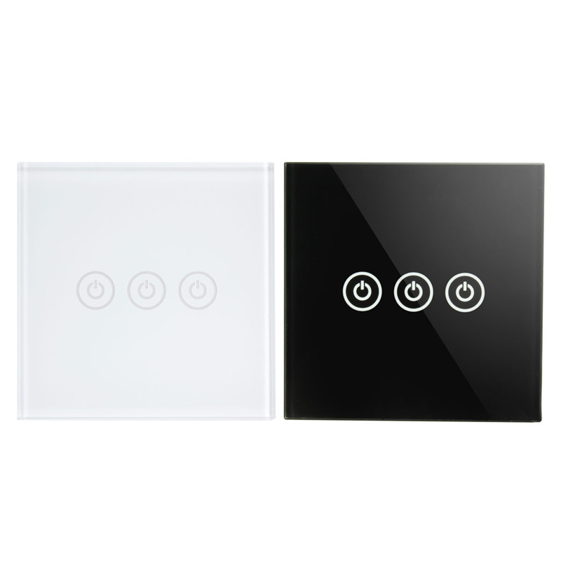 1 Way 3 Gang Crystal Glass Panel Touch Screen Home Light Wall Switch Remote Controller AC100-250V smart home us black 1 gang touch switch screen wireless remote control wall light touch switch control with crystal glass panel