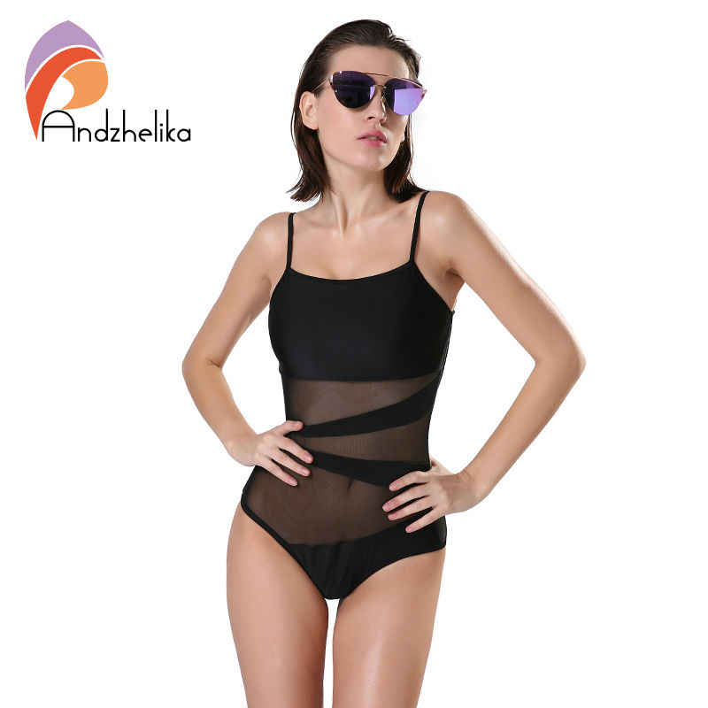 738bfe7a9ec96 Andzhelika Swimwear Women 2017 Beach One Piece Swimsuit Sexy Mesh Backless  Bodysuit Bathing Suit Swim Suit