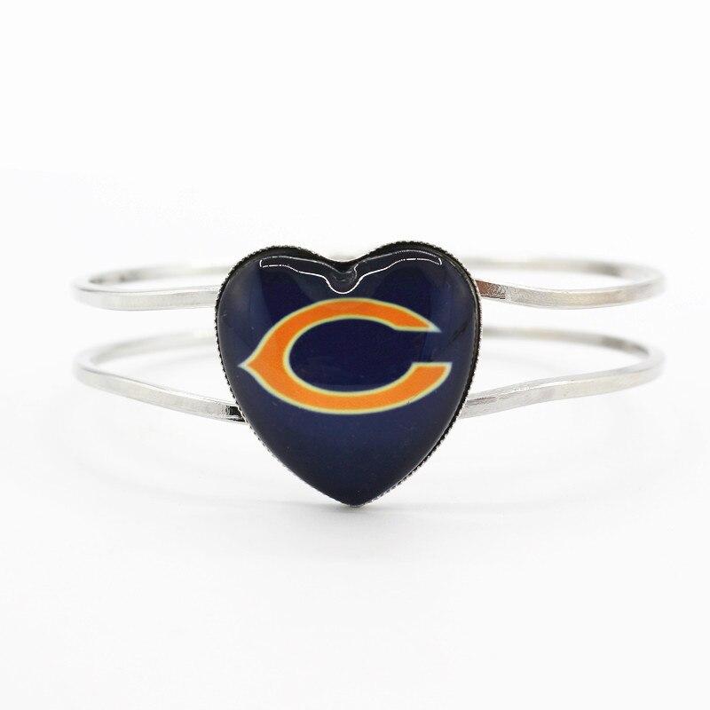 Хит продаж 1 шт./лот Chicago Bears Футбол сердце сплава Командные виды спорта браслет прелести стрейч браслеты для женщин