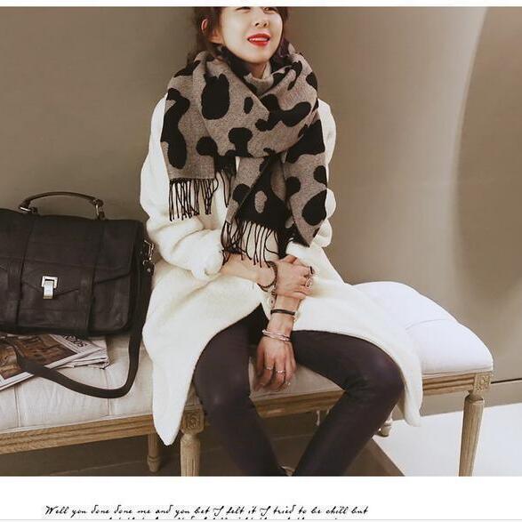 Для женщин Зимний шарф пашмины Обертывания Модные леопардовые печати длинный шарфы с кисточками Дамы Теплый шарфы для шали