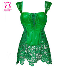 Green Leather and Lace Skirted Gothic Espartilhos E Corpetes Burlesque Corset Steampunk Clothing Plus Size Corsets and Bustiers