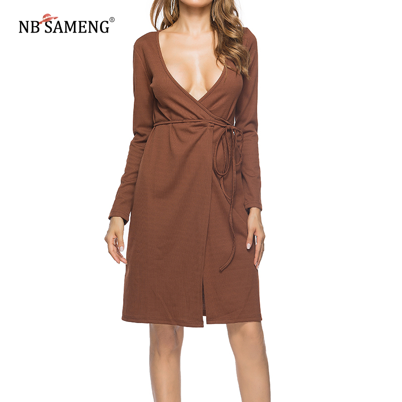 2017 Autumn New Arrival Women Casual Dress Long Sleeve Patchwork Dresses Solid V-Neck Split Knitted Dress Vestido new arrival 2018 autumn knitted dresses fashion women long sleeve v neck knee length dress casual solid female dress clothes