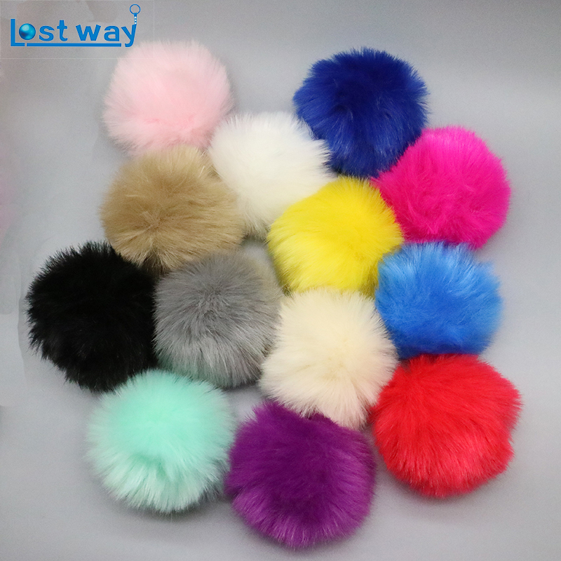 PomPom 8CM Fashion fur pom pom key chain rabbit fur ball keychain Fake fox fur for lovers keychain making