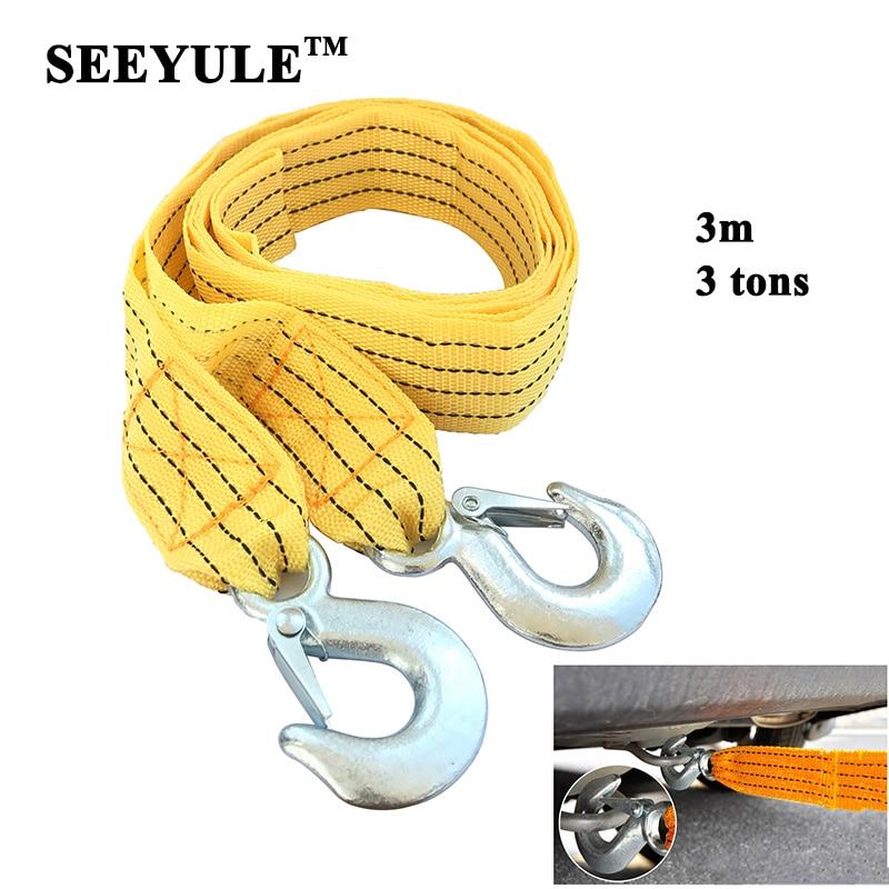1pc Seeyule Heavy Duty Car Towing Rope 3m 3 Tons Emergency Helper High Strength Steel Hooks Car Trailer Pull Towing Bar Straps Be Friendly In Use