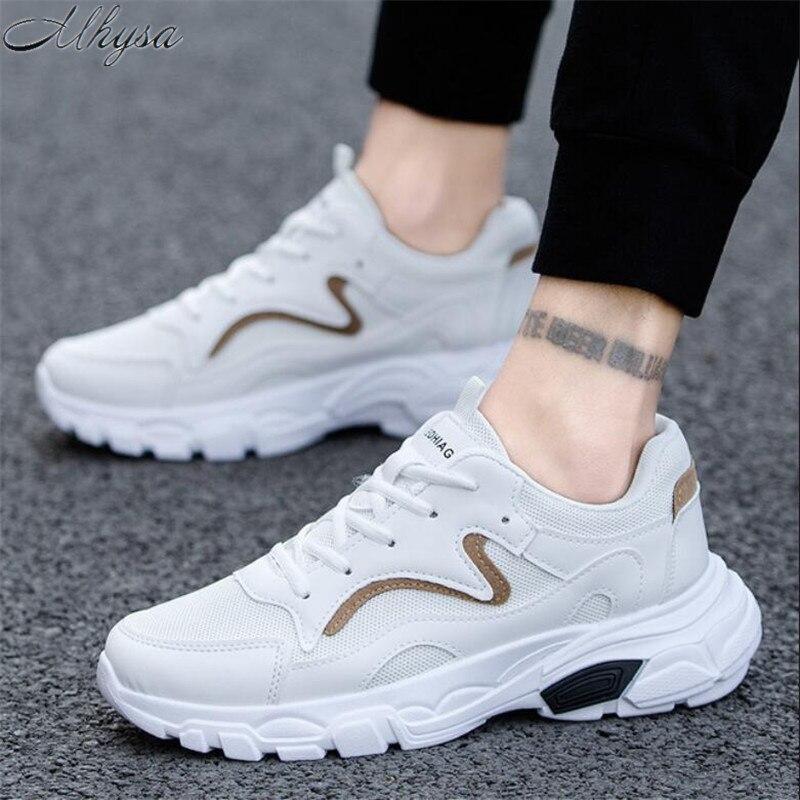87b1753d Negro Los Transpirables Casuales Encaje Zapatillas Nueva top Hombre Otoño  blanco Zapatos Sólido L060 Malla Deporte ...