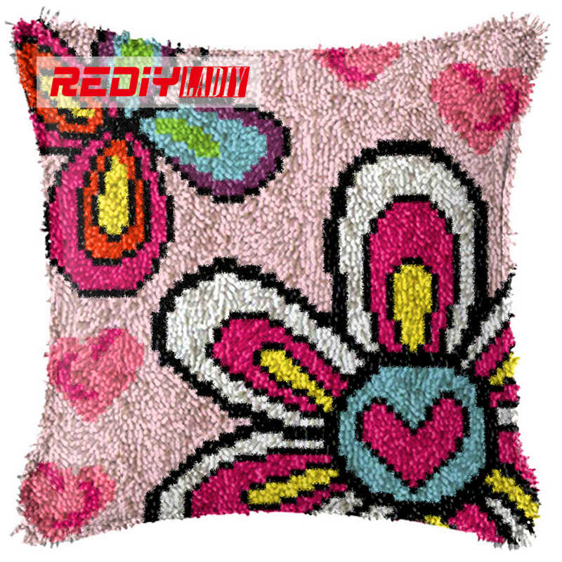 LADIY Latch Hook Cushion Kit Yarn for Embroidery Cushion Cover Color Butterfly Pillow Case Seat Cushion Decorative Pillow BZ244