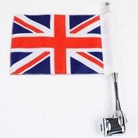 MAYITR Motorcycle Vertical Britain Flag Aluminum Rear Side Mount Flag Pole Luggage Rack For Honda GoldWing