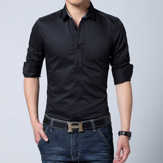 2016 Mens Dress Shirts Long Sleeve Men Dress Shirt Slim Fit Chemise Homme Black Dress Shirt Men Brand Camisa Masculina Plus Size