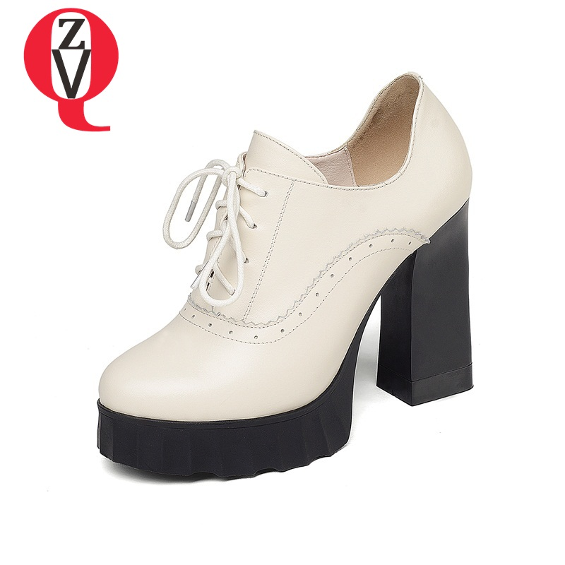 ZVQ fashion lady shoes genuine leather round toe super high heels offcie ladies thick platform heel lace up woman pumps блок tdm sq1813 0003