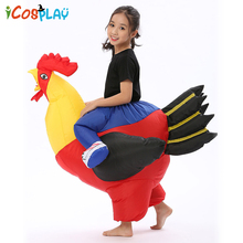 2019 new Halloween  Inflatable Rooster for adult Children Costume Blow Up Suit Party Carnival Fancy Dress for Purim kid Chicken free delivery 13feet giant inflatable chicken hot sale nylon oxford blow up chicken model for advertising toys