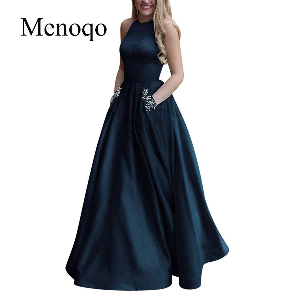 Menoqo Prom-Dress Evening-Dresses Beading-Pockets Robe-De-Soiree Party New-Arrival A-Line