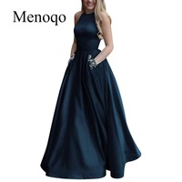 Menoqo New arrival sexy party evening dresses Vestido de Festa A line prom dress beading pockets Robe De Soiree