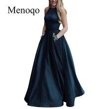 Menoqo ใหม่มาถึงเซ็กซี่ชุดราตรี Vestido de Festa A Line ชุดราตรีประดับด้วยลูกปัดกระเป๋า Robe De Soiree