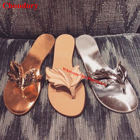 Size 43 Gold Silver Angel Wing Appliques Gladiator Flat Thong Sandals Casual Slip On Bling Bling