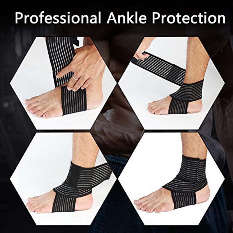 1Pair Elastic Breathable Wrap Ankle Support Brace Compression Knee Elbow Wrist Ankle Hand Support Wrap Sports Bandage Strap 3
