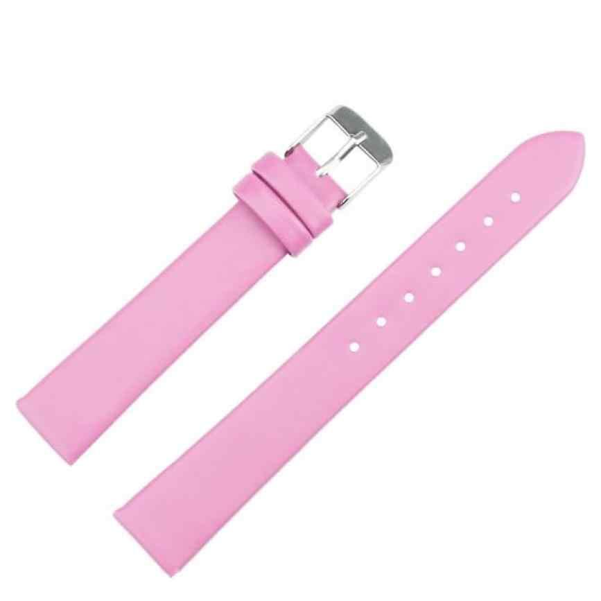 Moment # L05 correa de reloj correas de cuero 16mm ancho mujeres hombres moda alta calidad relojes negro rojo blanco rosa Dropship