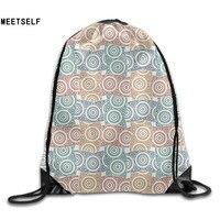 3D Print Colorful Circle Pattern Shoulders Bag Women Fabric Backpack Girls Beam Port Drawstring Travel Shoes