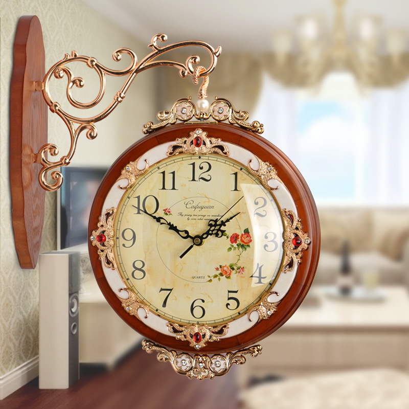 European Wood Double Clock Wall Retro Mute Quartz Chinese Wall Clock Modern Living Room Reloj De Pared Decorative Clock 50w124European Wood Double Clock Wall Retro Mute Quartz Chinese Wall Clock Modern Living Room Reloj De Pared Decorative Clock 50w124