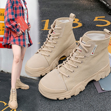 2019 New Fall Combat Boots for Women Platform Boots martin Ankle Boots Women Shoes Trendy Lace Up Casual Chunky Heel Botas Mujer trendy flat heel and tie up design women s boots