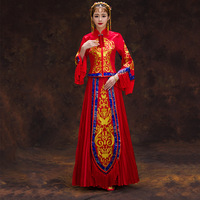 Chinese Style Women Wedding Dress High Quality Bride Marriage Suit Royal Vintage Formal Red Tassel Cheongsam Wedding Gowns