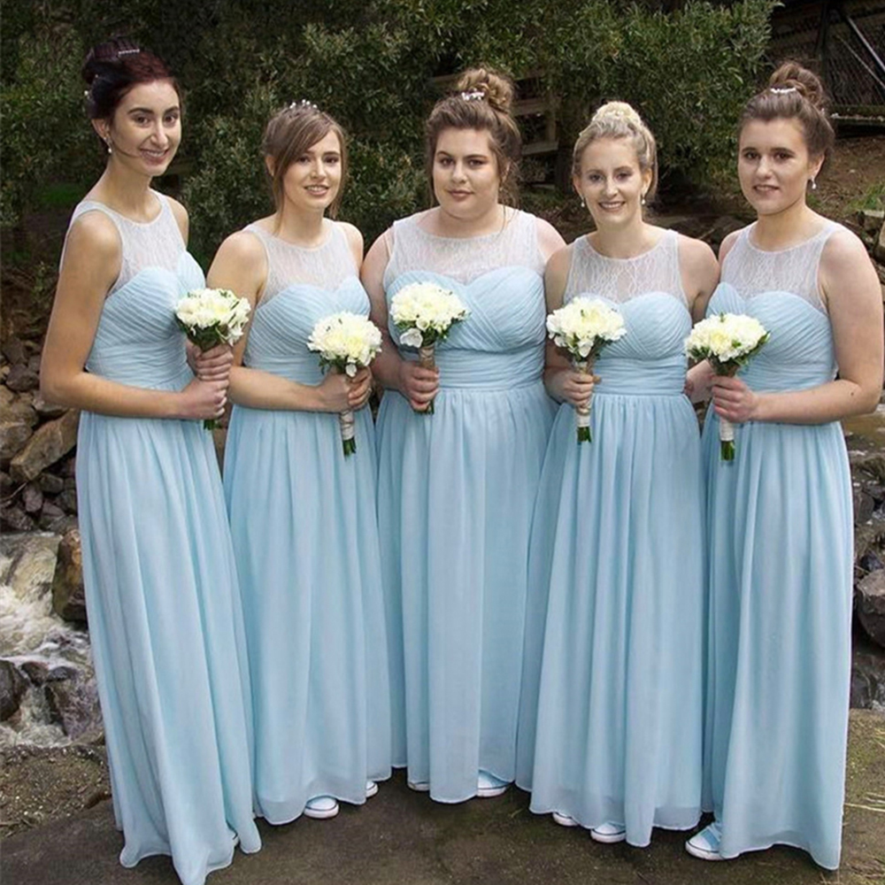 Bbonlinedress Blue Chiffon   Bridesmaid     Dresses   2019 Lace on Top Formal Vestidos Wedding Party   Dresses   Vestidos de Dama de honor