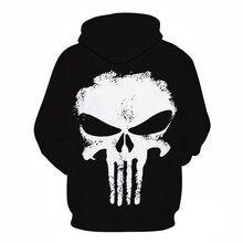 Punisher Skull Novelty Tracksuit Hooded Streetwear Casual Sweatshirt Jacket