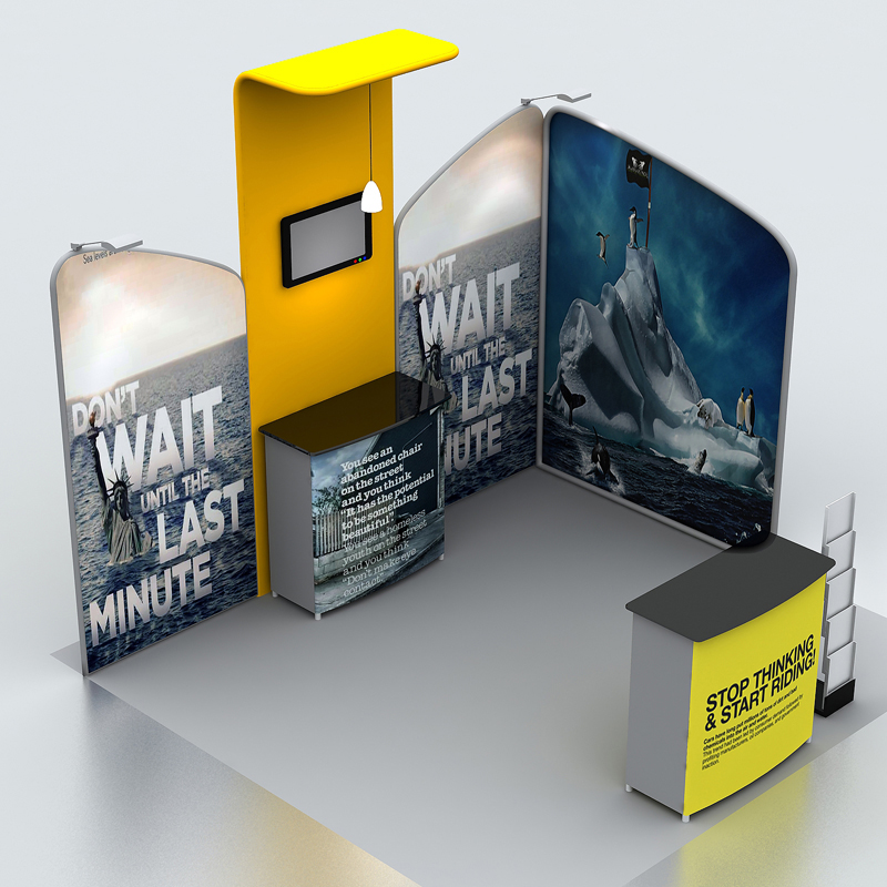 10ft Trade Show Display System Pop Up Banner Booth With Podiums Tv Mount Custom Graphic In Flags Banners Accessories From Home Garden On